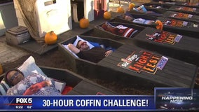 Participants trying to lie in coffin for 30 hours in Six Flags America's 'Coffin Challenge'