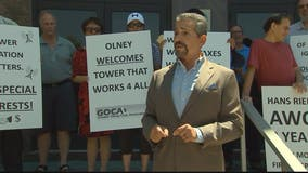 Olney residents protesting radio tower