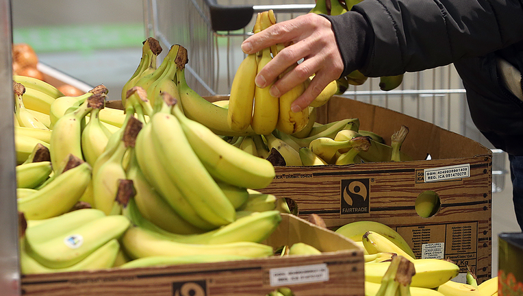 Bananas in a bin