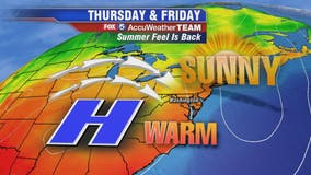 Sunny, warm and dry Thursday with comfortable temperatures in the mid-80s