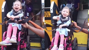 Precious little girl super excited for first day of school in adorable video