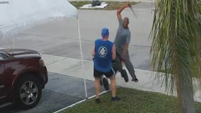 Florida deputies search for a man who swung a sword at a jogger during an argument over trash