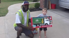 Young boy befriends sanitation worker, surprised with toy recycling truck