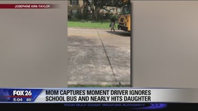 Car that won't stop nearly runs down young girl getting off school bus