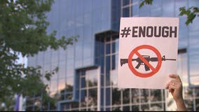 Gun control advocates demand action outside of NRA headquarters after mass shootings in Texas, Ohio