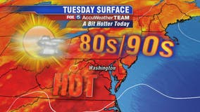 Hot and humid Tuesday with highs in the 90s; spotty storms possible into the afternoon and evening