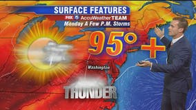 Hot, humid and chance for storms Monday afternoon and evening; heat index values between 100 and 105 degrees possible for parts of DC region