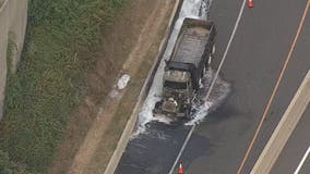 Dump truck fire causes delays in Fairfax County
