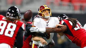 Haskins leads Redskins past fumbling Falcons, 19-7