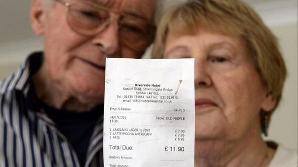 Elderly couple shocked by waitress' 'appalling' message on receipt