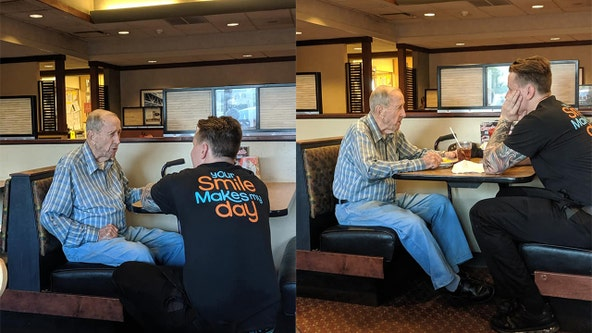 'It was a touching sight': Restaurant server uses lunch break to sit and talk with WWII veteran