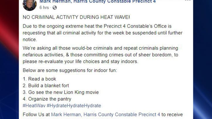 Law enforcement office requests no criminal activity during