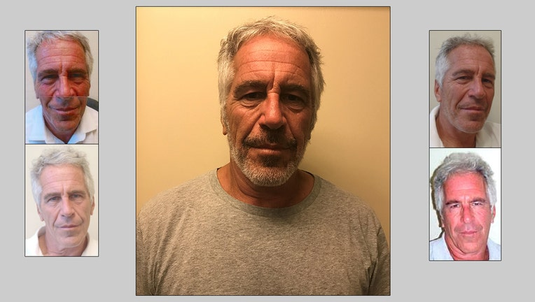 Photos of Jeffrey Epstein from the New York State Sex Offender Registry; clockwise from top left: 2011, 2017, 2012, 2016, 2013.