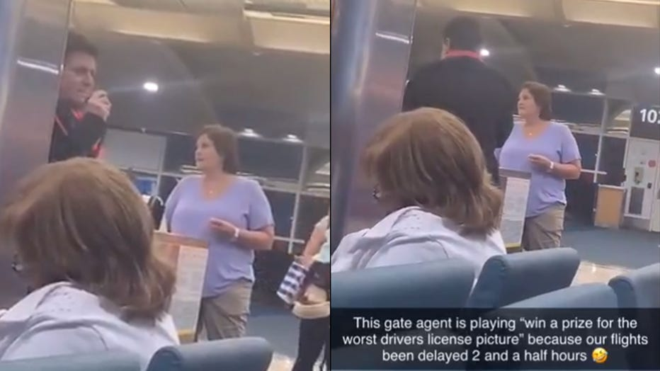 "Kristin Dundas posted video on Twitter of the Southwest Airlines agent holding a contest for the ""worst driver's license picture"" during a flight delay. (Photo credit: Twitter/@kdunds13)"