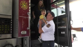 5-year-old boy with rare form of MD becomes Pinellas Park firefighter