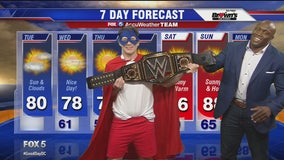 WWE star Bobby Lashley does the weather during his visit to FOX 5