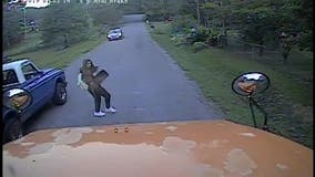 School bus dashcam captures close call after speeding pickup truck nearly hits teen