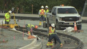 First section of track for Purple Line to be installed
