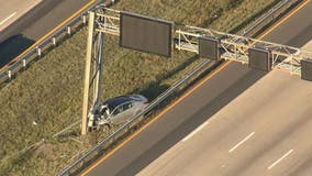 Vehicle hits overhead sign post on I-66 at Rt. 28 near Centreville