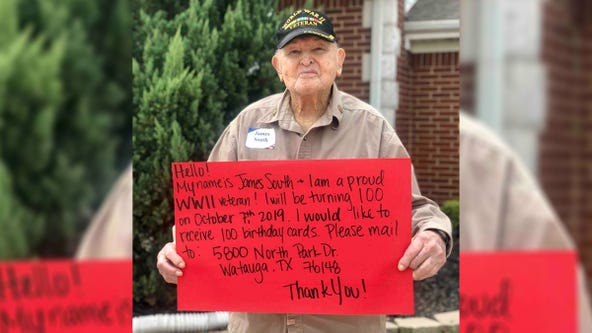 World War II veteran asks for 100 cards to celebrate his 100th birthday