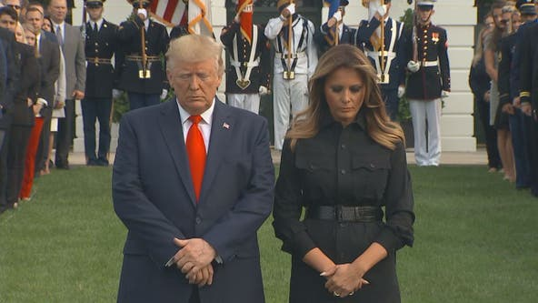 Trump marks 9/11 with moment of silence, Pentagon ceremony; bells toll at ground zero in New York