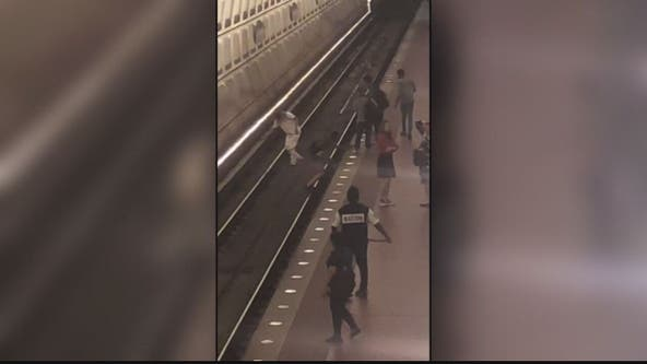Video: Man pushed on to Metro tracks in violent attack