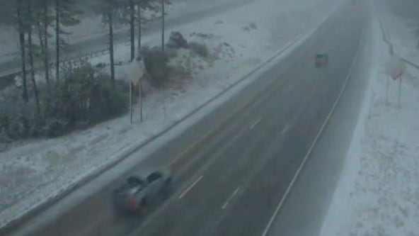 It's still summer but snow is already falling along the California-Nevada line