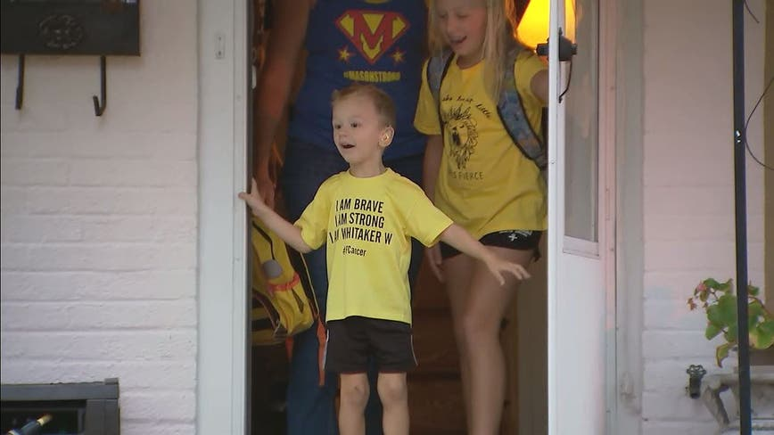 Yellow 'Transformers' cars line the street to surprise 4-year-old cancer survivor on his birthday