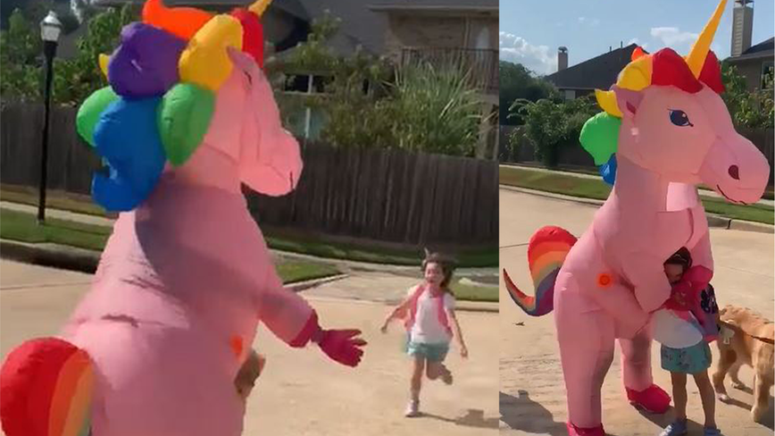 Magical moment: Mom surprises daughter at bus stop dressed in giant pink unicorn Halloween costume