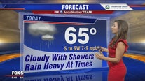 Cloudy with showers and heavy rain at times Wednesday