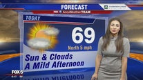 Mild and mostly sunny skies Monday; rain possible Tuesday