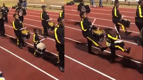 Gifted 5-year-old plays alongside high school drumline, has been with the band for two years