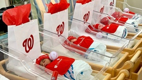 Newborn babies dressed in Nationals gear at Inova Hospital ready for game day