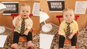 Beet this: Baby wins Halloween with mini Dwight Schrute costume, desk inspired by 'The Office'