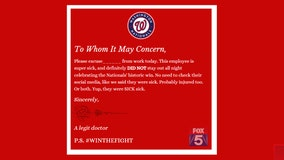 Need a reason to stay home from work today? The Washington Nationals are giving you one