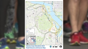 MAP: Traffic closures for 44th Annual Marine Corps Marathon in Arlington on Sunday