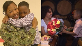 Military mom who surprised son in Fairfax County treated to early Mother's Day before she redeploys