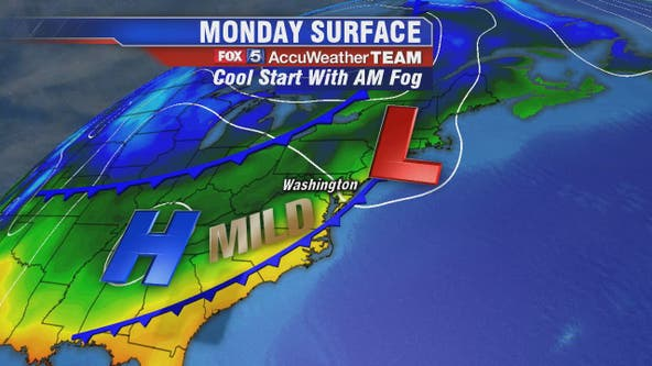 Sunny and warm Monday with chance for mid-week rain