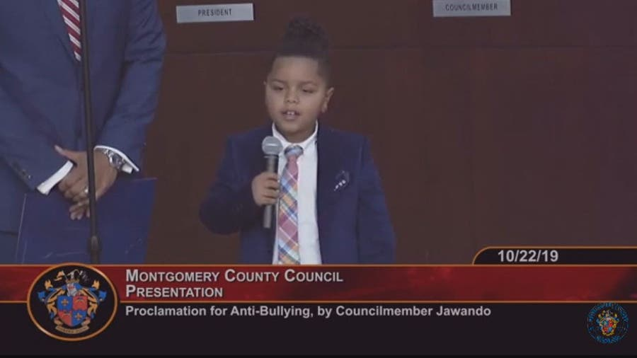 6-year-old anti-bullying activist gives speech at Montgomery County Council