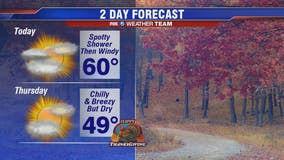 Clouds, showers Wednesday morning; windy afternoon with temps near 60