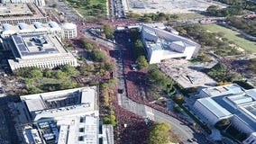 Aerial photo shows sea of red during Washington Nationals World Series parade in DC