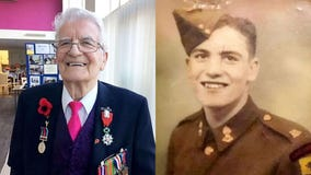 D-Day hero surprised by friends, family with party on 95th birthday