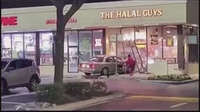 VIDEO: Driver crashes into Halal Guys storefront in Rockville, drives off
