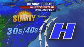Chilly morning Tuesday across DC region; afternoon temps in the 50s and 60s