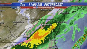 Showers end with possible wintry mix Tuesday morning; cold arctic air moves into DC region later today