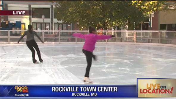 Local Montgomery Co ice skaters perform at outdoor rink