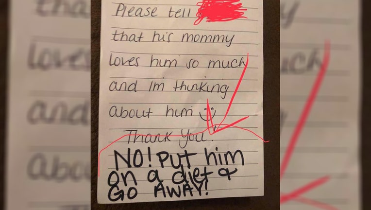 A Texas mother said she was horrified after a note left by a day care employee told her to put her son on a diet and