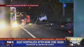 Police say 8 injured after DUI driver strikes construction workers on Interstate 66 in Arlington County