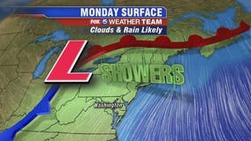 Cloudy, cool with afternoon showers Monday; rain / snow mix possible Wednesday