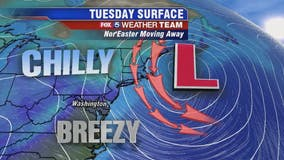 Chilly, breezy Tuesday; passing snow flurry possible overnight